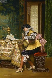 The Lute Player, 1880 by Lesrel | Painting Reproduction