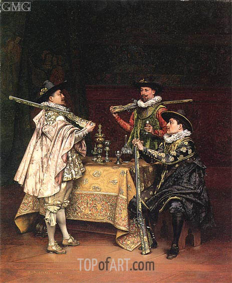 Discussing The Day's Shoot, 1899 | Lesrel | Painting Reproduction