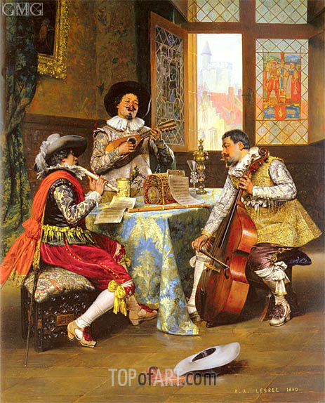 The Musical Trio, 1890 | Lesrel | Painting Reproduction