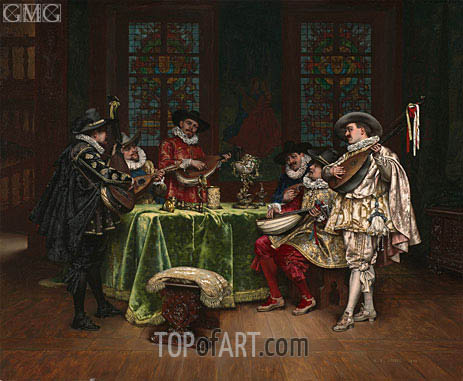 Interior with Troubadours, 1899 | Lesrel | Painting Reproduction