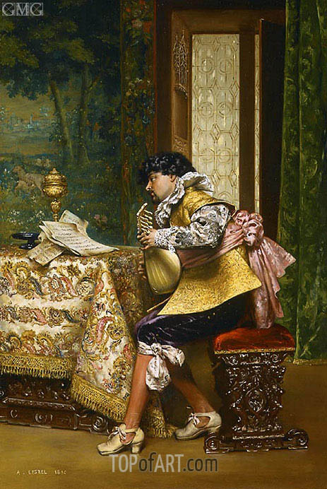 The Lute Player, 1880 | Lesrel | Painting Reproduction