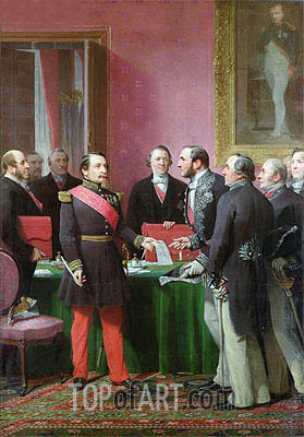 Napoleon III Hands Over The Decree allowing the Annexation of the Suburban Communes of Paris to Baron Georges Haussmann in June 1859, Undated | Adolphe Yvon | Painting Reproduction