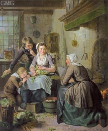 Kitchen Scene | Adriaen de Lelie | Painting Reproduction