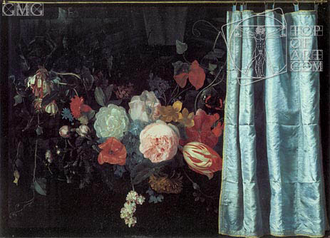 Still Life with Flowers and Curtain, 1658 | Adrian van der Spelt | Painting Reproduction