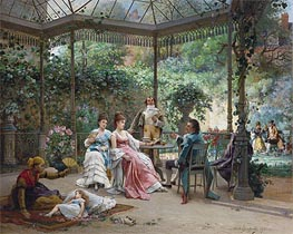 The Attentive Guests, 1876 by Adrien de Boucherville | Painting Reproduction