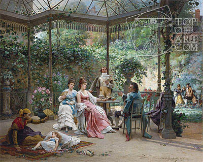 The Attentive Guests, 1876 | Adrien de Boucherville | Painting Reproduction
