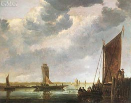 The Ferry Boat (The River Crossing), c.1652/55 by Aelbert Cuyp | Painting Reproduction