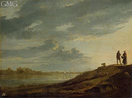 Sunset over the River, c.1650 by Aelbert Cuyp | Painting Reproduction