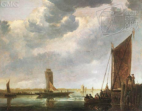 The Ferry Boat (The River Crossing), c.1652/55 | Aelbert Cuyp | Gemälde Reproduktion