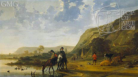 River Landscape with Riders, c.1655 | Aelbert Cuyp | Painting Reproduction