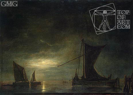The Sea by Moonlight, c.1648 | Aelbert Cuyp | Painting Reproduction