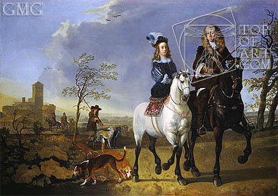 Lady and Gentleman on Horseback, c.1655 | Aelbert Cuyp | Gemälde Reproduktion