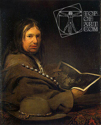 Portrait of a Collector (Self-Portrait with Etching by Rembrandt)  , a.1685 | Aert de Gelder | Painting Reproduction