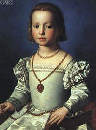 Bia, Illegitimate Daughter of Cosimo I de' Medici, c.1542 by Bronzino | Painting Reproduction