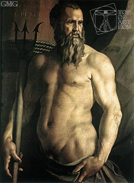 Portrait of Andrea Doria as Neptune, c.1540/50 | Bronzino | Painting Reproduction