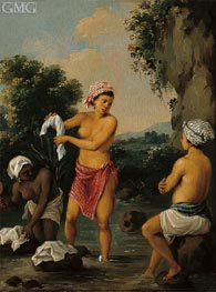 Three Caribbean Washerwomen by a River | Agostino Brunias | Painting Reproduction