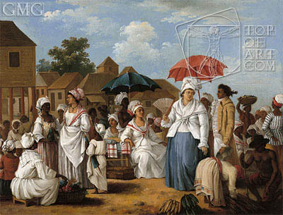 The Linen Market, Santo Domingo, c.1775 | Agostino Brunias | Painting Reproduction