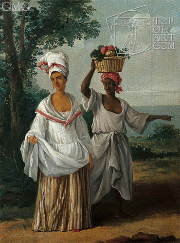 Two Caribbean Women Returning from the Market, c.1770/80 | Agostino Brunias | Gemälde Reproduktion