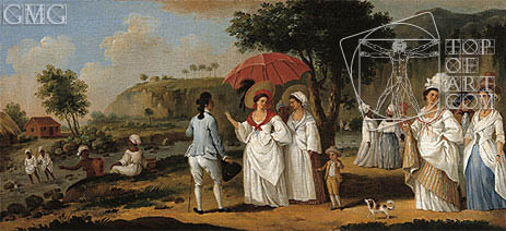 West Indian Landscape with Figures Promenading before a Stream, undated | Agostino Brunias | Painting Reproduction