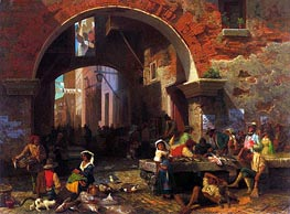 Roman Fish Market, Arch of Octavius | Bierstadt | Painting Reproduction