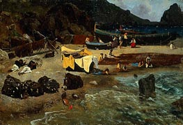 Fishing Boats at Capri | Bierstadt | Painting Reproduction