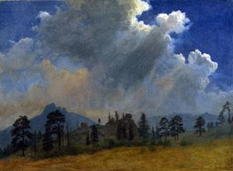 Fir Trees and Storm Clouds | Bierstadt | Painting Reproduction