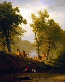 The Wolf River, Kansas, c.1859 by Bierstadt | Painting Reproduction