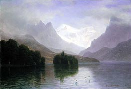 Mountain Scene, c.1880/90 by Bierstadt | Painting Reproduction