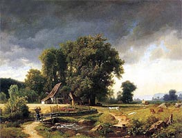 Westphalian Landscape, 1855 by Bierstadt | Painting Reproduction