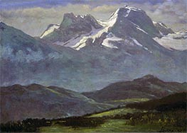 Summer Snow on the Peaks or Snow Capped Mountains | Bierstadt | Painting Reproduction