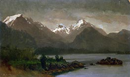 Mountains and Lake | Bierstadt | Painting Reproduction