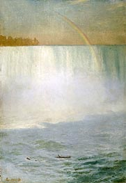 Waterfall and Rainbow, Niagara, undated by Bierstadt | Painting Reproduction