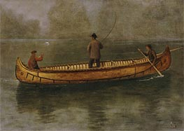 Fishing from a Canoe | Bierstadt | Painting Reproduction