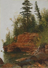 A Rocky Cove, undated by Bierstadt | Painting Reproduction