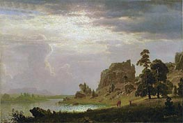 On the Sweetwater Near the Devil's Gate, Nebraska, 1860 by Bierstadt | Painting Reproduction