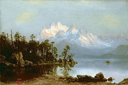 Mountain Canoeing, undated by Bierstadt | Painting Reproduction