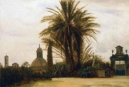 Palm Trees with a Domed Church, c.1880 by Bierstadt | Painting Reproduction
