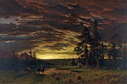Evening on the Prairie, c.1870 by Bierstadt | Painting Reproduction
