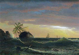 Beached Ship, 1859 by Bierstadt | Painting Reproduction