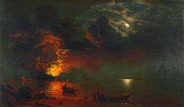 The Burning Ship, 1869 by Bierstadt | Painting Reproduction