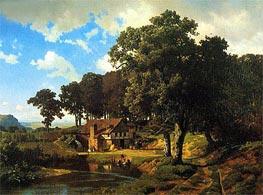 A Rustic Mill, 1855 by Bierstadt | Painting Reproduction