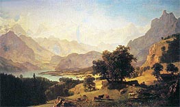 Bernese Alps, as Seen near Kusmach, 1859 by Bierstadt | Painting Reproduction