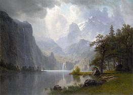 In the Mountains, 1867 by Bierstadt | Painting Reproduction