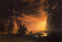 Sunset in the Yosemite Valley, 1869 by Bierstadt | Painting Reproduction