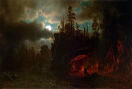 The Trappers' Camp, 1861 by Bierstadt | Painting Reproduction