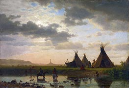 View of Chimney Rock, Ohalilah Sioux Village in the Foreground | Bierstadt | Painting Reproduction