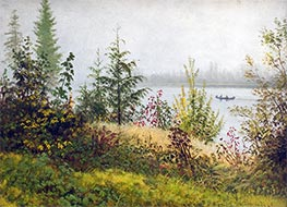 Canoe on Northern River, 1889 by Bierstadt | Painting Reproduction