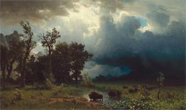 Buffalo Trail: The Impending Storm, 1869 by Bierstadt | Painting Reproduction
