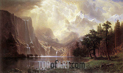 Among the Sierra Nevada Mountains, California, 1868 | Bierstadt | Painting Reproduction