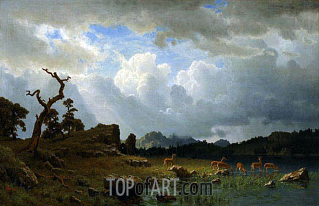 Thunderstorm in the Rocky Mountains, 1859 | Bierstadt | Painting Reproduction